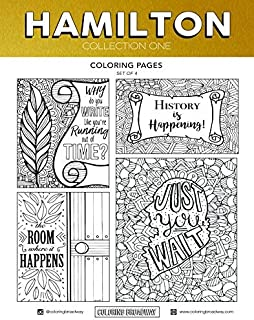 "Coloring Broadway Hamilton Card stock Coloring Pages (8 1/2"" x 11"" - Set of 4 individual designs)"