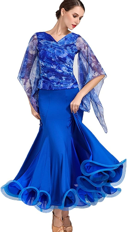Wangmei Für den Ballsaal Kleider Damen Aufführung Groer Schwung EIS-Seide Gefalten Halbe Sleeve Normal Kleid