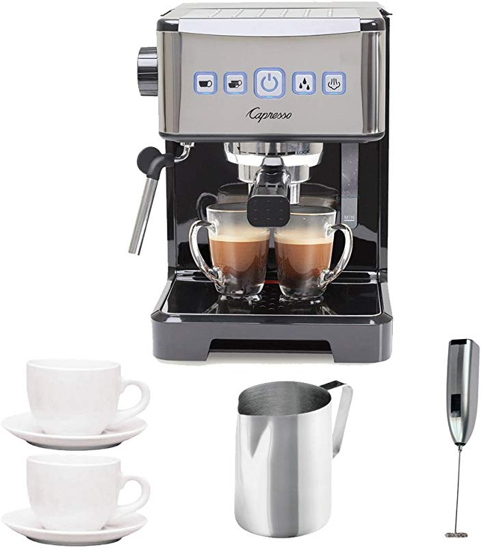 Capresso Ultima PRO Programmable Espresso Cappuccino Machine W 2 Cappuccino Cups Pitcher Frother