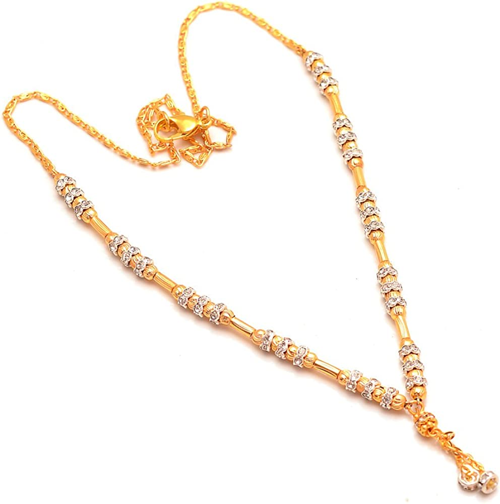 Indian Handmade ad Stone Jewelry Rich Look AD Gold Plated Necklace Set 7167