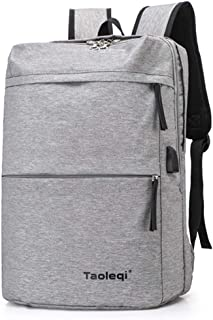 School Rucksack with USB Port, Sport Backpack, Laptop Bag, Student Boys Girls, Multifunction (Silver)