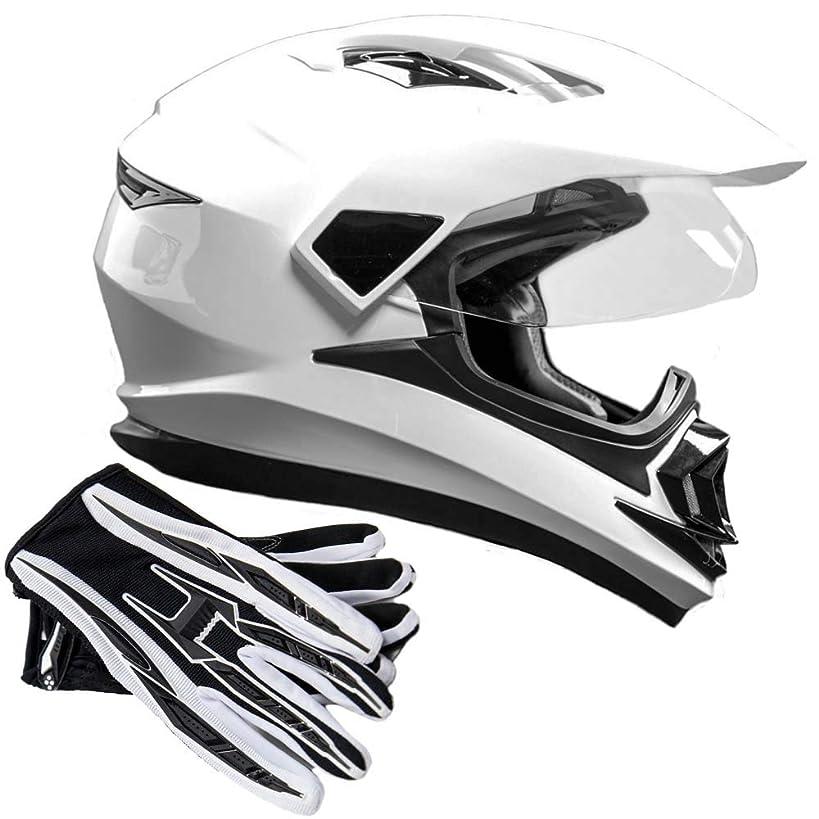 Dual Sport Helmet Combo w/Gloves - Off Road Motocross UTV ATV Motorcycle Enduro - Gloss White, Black - XL