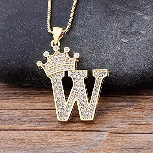 AQING Lujo Cobre Circón AZ Corona Carta Colgante Collar de Cadena Estilo Punk Hip Hop Moda Mujer Hombre Nombre Joyería-W