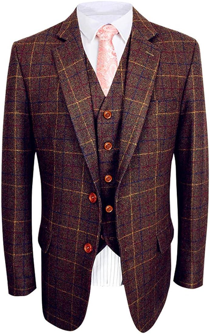 Abruzzomaster Classic Vintage Brown Tweed Herringbone Wool Blend Men Suit 3 Pieces Check Plaid Dark Green Striped Blazer