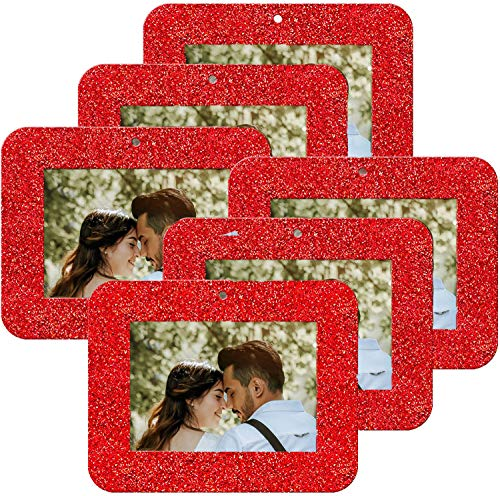 MIXTEACH 12 Pieces Christmas Photo Frame Ornaments Square Glitter Holiday Picture Frame Gifts and Tree Decoration for Christmas Party Favor (Red)
