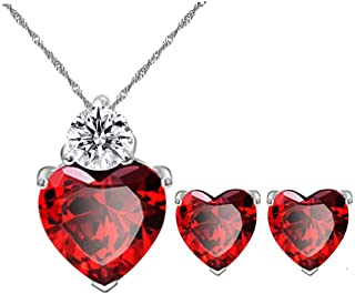 Uloveido Red Crystal Heart Necklace and Earrings Wedding Jewelry Set for Women Girls BME53