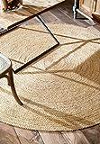 nuLOOM Alfombra Redonda Trenzada de Yute, Natural (6 pies)