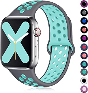 Henva Compatible with Apple Watch Band 40mm 38mm, Replacement Accessories Breathable Sport Wristbands with Air Holes for iWatch Series 5, Series 4, Series 3, Series 2, Series 1, Gray/Teal, S/M