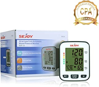 Automatic Blood Pressure Monitor Wrist Cuff Machine, Large Digital Screen, Easy to Use, SEJOY BSP-21 Series, Batteries Included