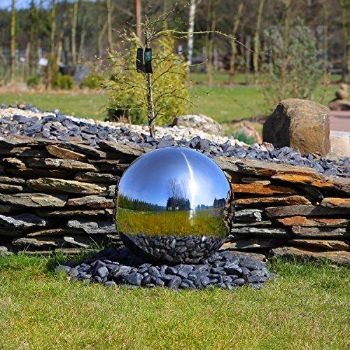 CLGarden Élément en acier inoxydable pour la fontaine de jardin ESB5 Grande boule en acier brillant avec 48cm Diamètre Jeu d'eau Fontaine d'extérieur 48 cm