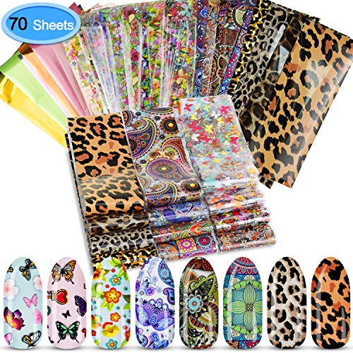EAONE 70 Sheets Nail Foil Transfer Stickers Flower Pattern Nail Art Sticker Adhesive Glitter Decals for DIY Nail Art, Pure Color and Floral Styles