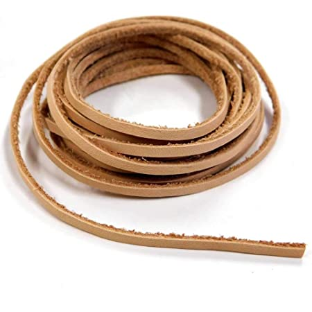 革紐 かがり用レース ヌメ革 きなり 長さ約200㎝ 幅2.5㎜ 厚み1.5㎜ 2本入り