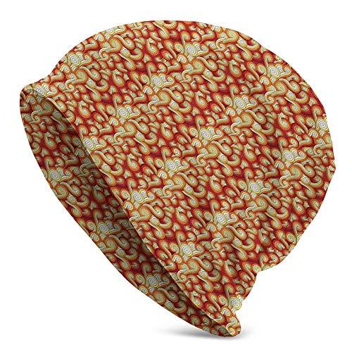Mamihong Sombrero Adulto Gorrita Tejida Sombreros de Punto Gorra de Calavera, Estilo Retro Abstracto Ondas Dibujadas a Mano abstractas con diseño Complejo de Colores degradados