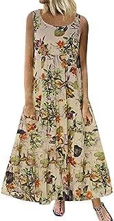 FSSE Womens Plus Size Sleeveless Sundress Print Cotton Linen Swing Flare Midi Dress