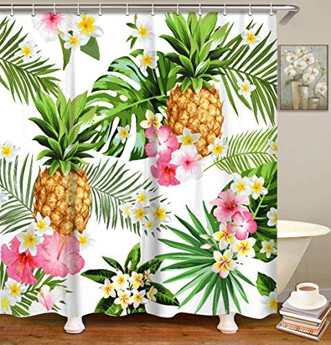 LIVILAN Tropischer Duschvorhang, Sommer-Ananas-Stoff, Badezimmer-Vorhang-Set mit Haken, dekorative grüne Blätter, rosa Blumen, 183 x 183 cm, maschinenwaschbar