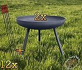 2x Formstabile Feuerschale XXXL ca. 100cm für Grill, Camping, Garten Lagerfeuer, STAHL LEICHT UND FORMSTABIL, mit runden Füßen, sowie 2 Griffen SET + 12x Grillspieße Würstchenhalter...