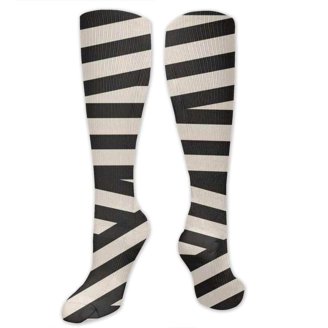 キャプチャー花タップ靴下,ストッキング,野生のジョーカー,実際,秋の本質,冬必須,サマーウェア&RBXAA Black White Stripe Crossing Socks Women's Winter Cotton Long Tube Socks Cotton Solid & Patterned Dress Socks