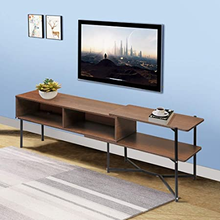Amazon Com Tv Stand Media Table Unit For Tvs Up To 42 Adjustable Tv Bench Stand With Storge 2 In 1 Entertainment Center Console Tv Cabinet For Living Room Bedroom Oak Kitchen Dining