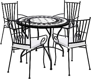 Desconocido TessaHome Set de 4 Sillas de forja con reposabrazos y Mesa Circular Ceramica 90 cm Diámetro