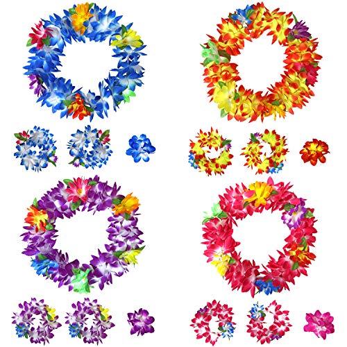 16 Piece Set Hawaiian Flower Leis Headband, Bracelet and Hair Clips for Luau Party Favors, Decoration Supplies