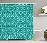 Soefipok Türkis Dekor Sammlung, traditionelle Vierpass-Gittermuster-Grafik mit geometrischen Formen Marokkos, Duschvorhang aus Polyestergewebe, grün-gelb