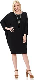 Pastel by Vivienne Women's Side Draped Dolman Sleeves Plus Dress