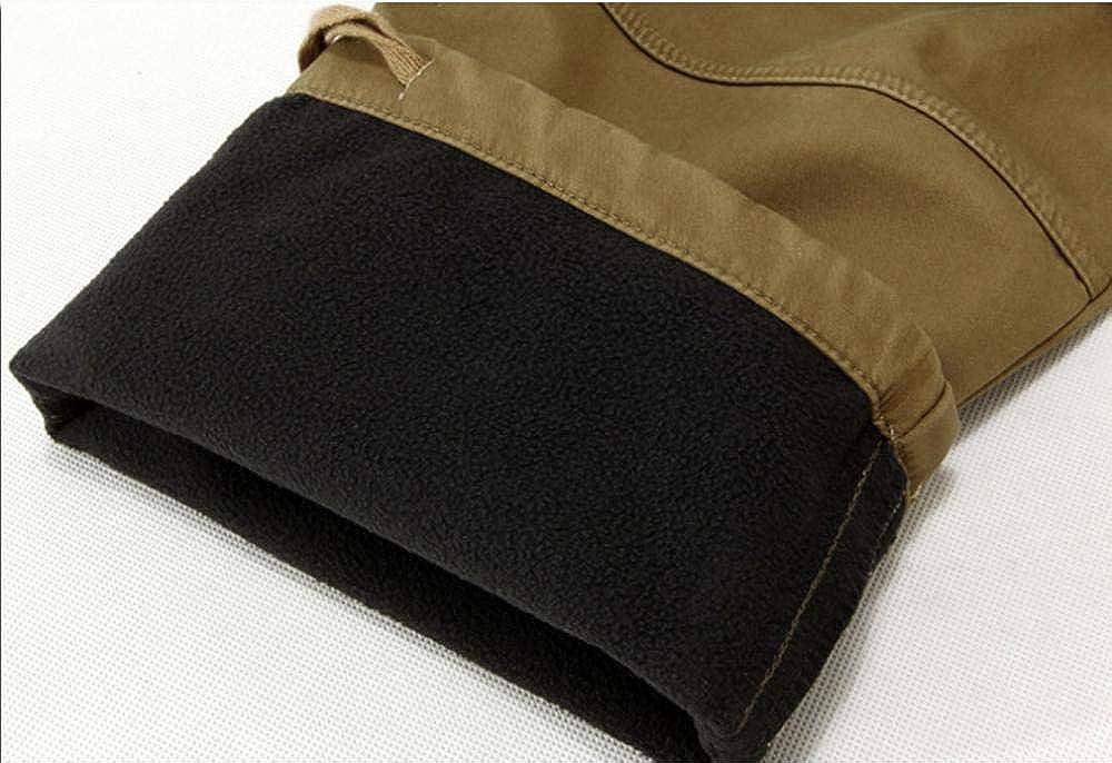 Meaeo Chaud Épaissir Polaire Cargo Pantalon Mens Hiver Pantalon Baggy Pantalon Décontracté Coton Militaire Pantalon Plus La Taille 40 Kaki