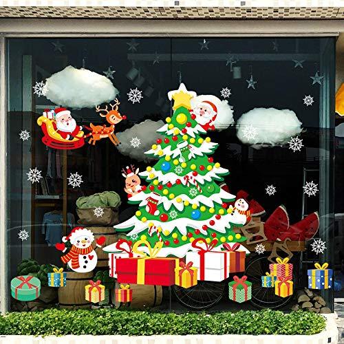 JUNZE Pegatinas de Pared de Navidad Árbol de Navidad de Dibujos Animados Pegatinas de Ventana de Tienda de Centro Comercial