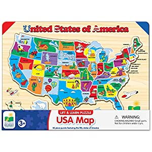 The Learning Journey Lift & Learn Puzzle - USA Map Puzzle for Kids - Preschool Toys & Gifts for Boys & Girls Ages 3 and Up - United States Puzzle for Kids - Award Winning Toys