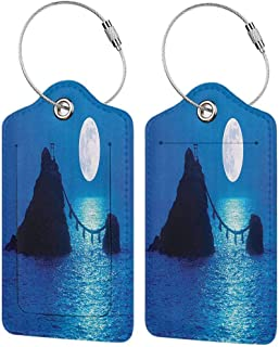 Multicolor luggage tag Ocean Decor Collection Full Moon Lights Up Sea and Two Rocky Islands Wedded by Shimenawa Rope at Meoto Iwa Japan Print Hanging on the suitcase Navy W2.7