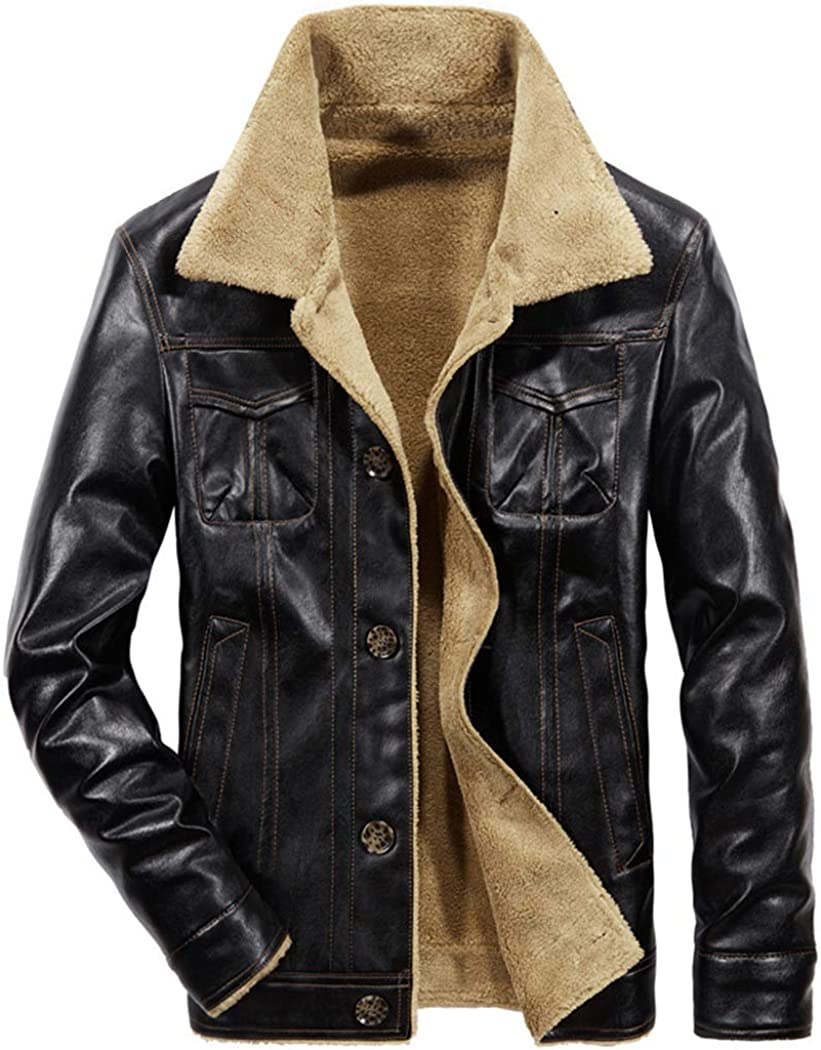 Sun Lorence Men's Winter Excellence Fur Collar Large-scale sale Breasted Lined Single Sherpa