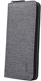 MOCA Men's and Women's Leather Long Large Capacity Clutch Wallet Purse for Carying Cards and Phone (Black Grey)