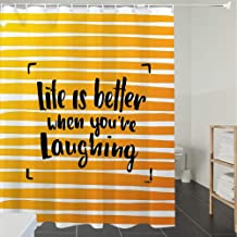 Shower Curtain Fabric Polyester Fabric,Waterproof, Machine Washable, Quote,Life is Better When You are Laughing Hand Drawn Calligraphy on Stripes,Orang, Bathroom Decor Set with Hooks, 70