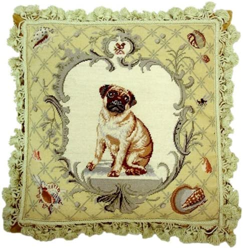 Deluxe Pillows Shells Max 79% OFF Limited price sale and Dog - x 18 needlepoint pillow in.