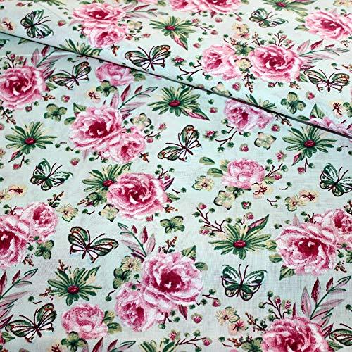 Pingianer 100x160cm 100{a11a10ce7d55a018c35a1ea149b01807b4385f0b69f814cd6bcf5b5fb578ba73} Baumwolle Baumwollstoff Streifen Blumen Meterware Handwerken Nähen Stoff (Blume Türkis Rosa)