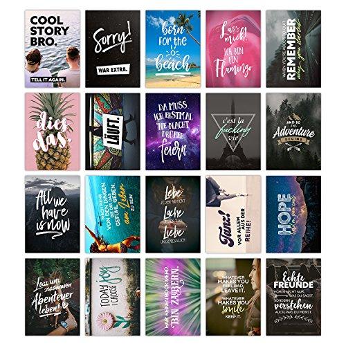 TypeStoff 20er Postkarten-Spar-Set – Life is Life – DIN A6, 20 Verschiedene Motive mit Sprüchen, Zitaten und Aphorismen DIN A6 (Life is Life)