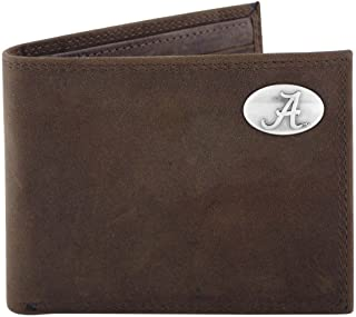 NCAA Alabama Crimson Tide Light Brown Crazyhorse Leather Bifold Concho Wallet, One Size