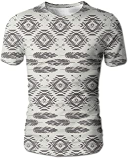 Men Creative Short Sleeve T-Shirt Navajo Feathers and Arrows 3D Print Casual Graphic Tees Tops