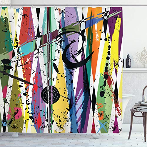ABAKUHAUS urban Graffiti Duschvorhang, Bullauge, Wasser Blickdicht inkl.12 Ringe Langhaltig Bakterie & Schimmel Resistent, 175 x 180 cm, Schwarz Lila