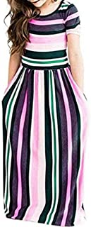 Miss Bei Girl's Summer Short Sleeve Stripe Holiday Dress Maxi Dress with Pocket Size 3-16T,Long Sleeve has Arrived