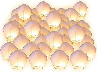 Lote de 10lámparas voladoras tailandesas de aire caliente, biodegradables, farol romántico, multicolores, Couleur blanc, Lot de 10