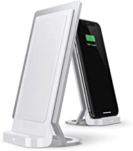 Defense Vertical Charger, Wireless Qi Charging Stand, Machined Aluminum Frame, Up to 10W Fast Charging for Apple iPhone, Samsung Galaxy, Note and Other Qi Devices (White)