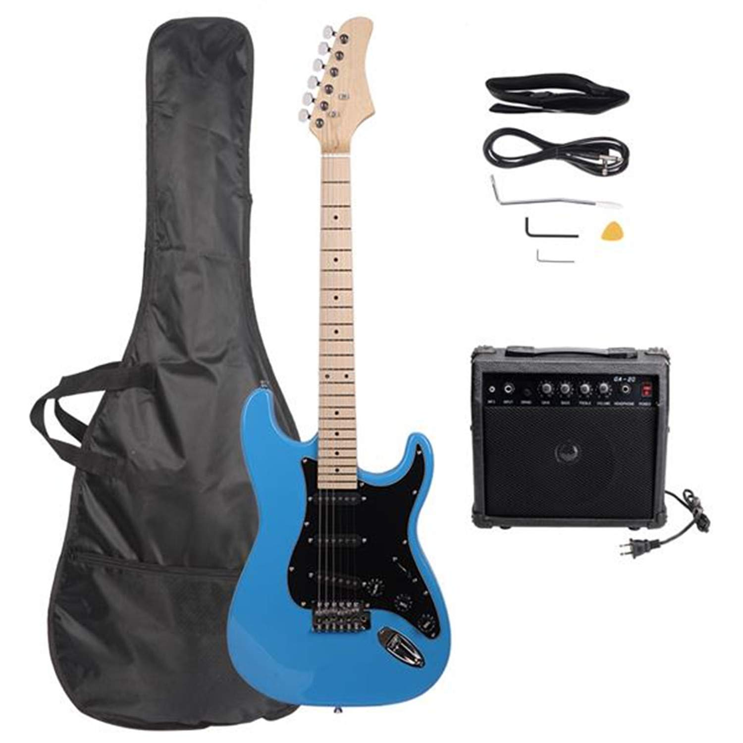Cheap Full Size Electric Guitar With Black Pickguard For Music Lover Beginner Kits With Bag Strap Guitar Amplifier Power Wire Tool Plectrum (Sky Blue) Black Friday & Cyber Monday 2019