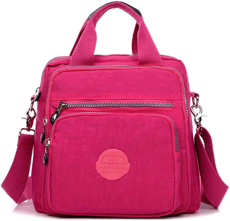 Nylon Casual Backpack Lightweight MultiPocket Shoulder Bag Dumpling Bag Mommy Bag (color   Wine red, Size   24  12  25cm)