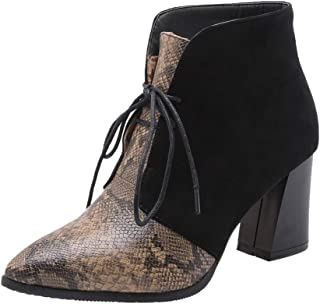SUGEER Winter Shoes Womens Snakeskin Booties Red High Heels Womens Ankle Winter Boots Snake Pointed Strap Boots
