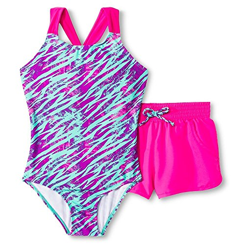 Circo Girls' 1-Piece Zebra Print Swimsuit and Boardshort Set Turquoise (X-Small)