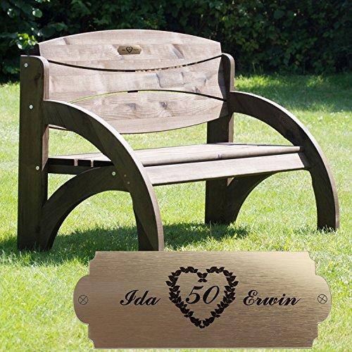 Geschenke 24 Personalisierte Gartenbank zur Goldenen Hochzeit - persönliches Geschenk mit Gravur - eine schöne Geschenkidee zum 50. Hochzeitstag für Männer und Frauen (Nussbaum)