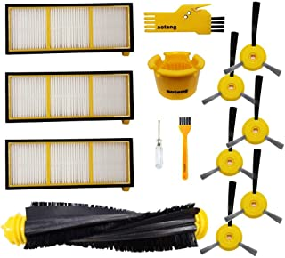 aoteng Replacement Parts for Shark ION Robot Vacuum Cleaner RV750, RV720, RV700, RV750C, RV755 Accessory Kit 12 Pack (1 Main Brushroll + 3 Filter + 6 Side Brush + 2 Cleaning Tool)