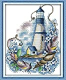 YEESAM ART Cross Stitch Kits Stamped for Adults Beginner Kids, Blue Lighthouse Tree Leaf 11CT 28×37cm DIY Embroidery Needlework Kit with Easy Funny Preprinted Patterns Needlepoint Christmas