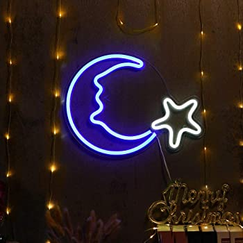 Crescent Neon Light Moon Led Neon Signs Art Wall Lighting Decor For House Bar Recreational Birthday Party Kids Room Living Room Wedding Party Blue Moon Amazon Com